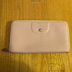 LONGCHAMP Pink Leather Zip Wallet - Very Soft!